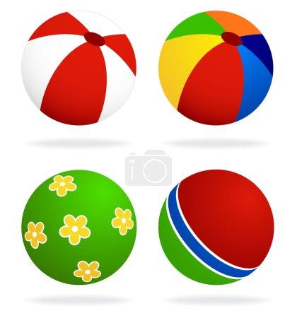 Illustration for Set of beach balls isolated on white background - Royalty Free Image