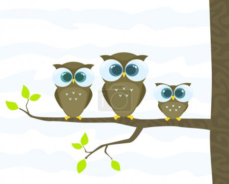 Illustration for Family of owls. Vector illustration - Royalty Free Image