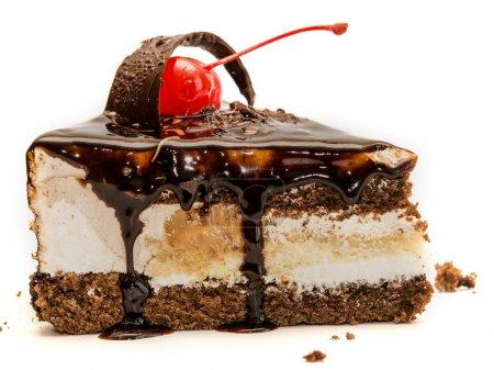 Photo for Chocolate cake isolated on white background - Royalty Free Image