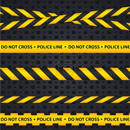 Police line and danger tapes on dark background.