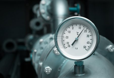 Photo for Industrial water temperature meter with pipe - Royalty Free Image