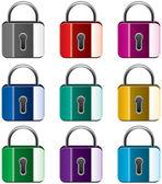 Vector set of colorful metal locks