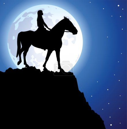 Illustration for Vector illustration of a girl on the horse on top of the mountain and a moon - Royalty Free Image