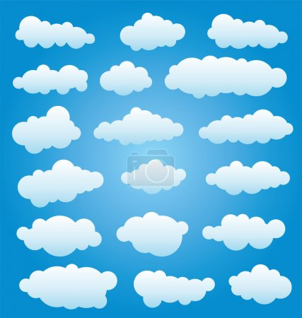 Illustration for Vector design set of clouds in the sky - Royalty Free Image