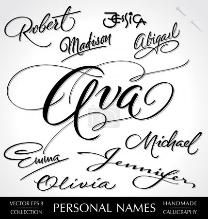 Names hand lettering set (vector)