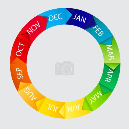 Concept of colorful Time Wheel illustration