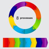 Koncept barevný kruhový bannerů s šipkami pro různé b