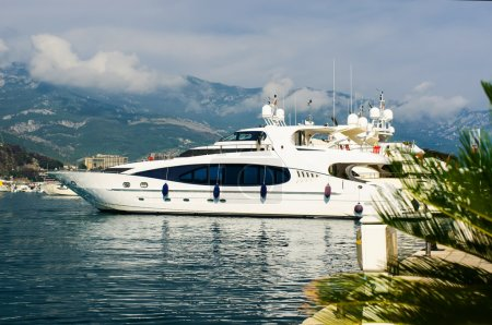 Luxury yacht in port. Budva. Montenegro