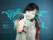 Futuristic Touchscreen display - worldmap