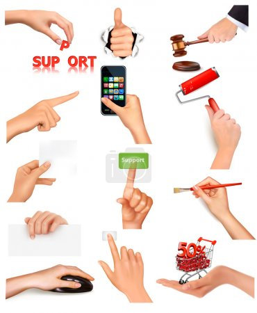 Illustration for Set of hands holding different business objects Vector illustration - Royalty Free Image