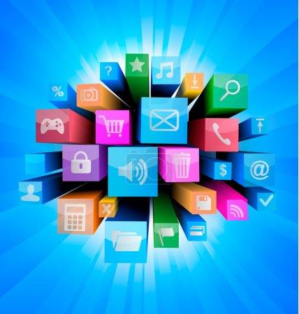 Photo pour Fond technologique abstrait avec icônes colorées vecteur - image libre de droit