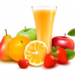 Fresh fruit and juice Vector illustration...