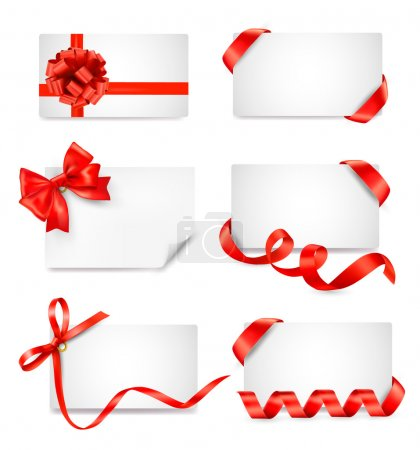 Illustration for Set of card notes with red gift bows with ribbons Vector - Royalty Free Image