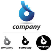 Corporate emblem or icon design with an abstract blue form