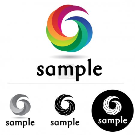 Illustration for Abstract corporate logo with colorful swirls in a circular form - Royalty Free Image