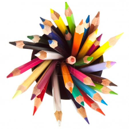 Different colored pencils with white background