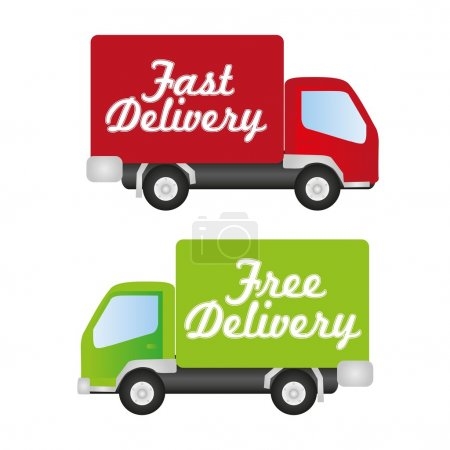 Illustration for Truck fast and free delivery, vector illustration - Royalty Free Image
