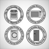 Set of Appliances contains washing machine stove microwave and refrigerator vector illustration