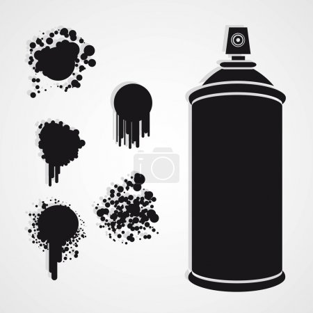 Illustration for Silhouette spray bottle with paint stains, vector illustration - Royalty Free Image