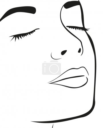 Illustration for Silhouette lines of the woman's face, isolated on white background, vector illustration - Royalty Free Image