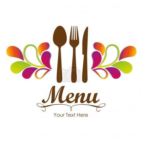 Illustration pour Carte élégante pour menu restaurant, avec cuillère, couteau et illustration vectorielle fourchette - image libre de droit
