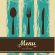 Elegant card for restaurant menu, with spoon, knif...