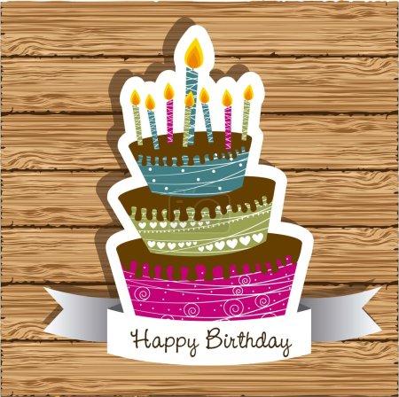 Illustration pour Carte d'anniversaire avec gâteau coloré sur fond bois, illustration vectorielle - image libre de droit