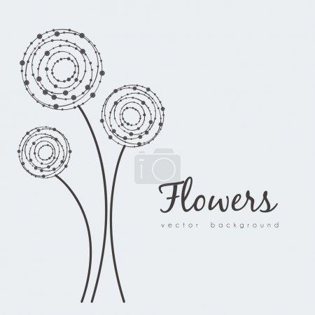 Illustration pour Illustration de fleurs délicates en lignes et cercles de points, illustration vectorielle - image libre de droit