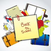 Illustration back to school with school elements vector illustration