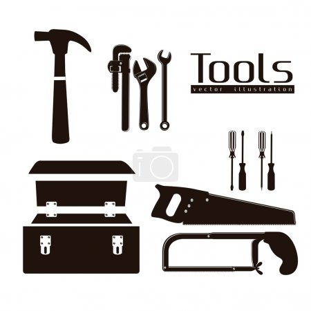 silhouette of tools