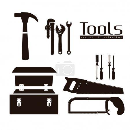 Illustration pour Silhouette d'outils, avec une clé à tuyau, marteau, scie à métaux, tournevis, scie à main et boîte à outils, illustration vectorielle - image libre de droit
