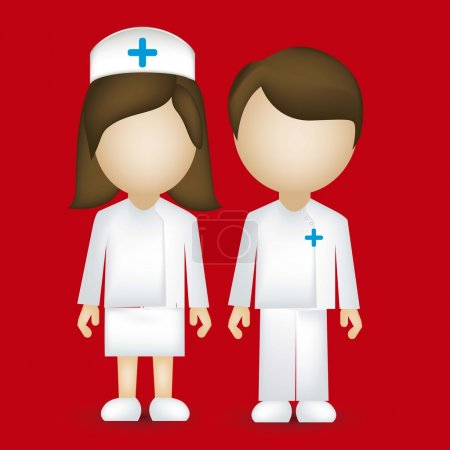 Illustration for Illustration of a male and female nurse isolated on blue background, vector illustration - Royalty Free Image