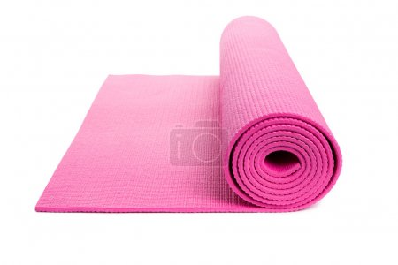Pink Yoga Mat with White Background...