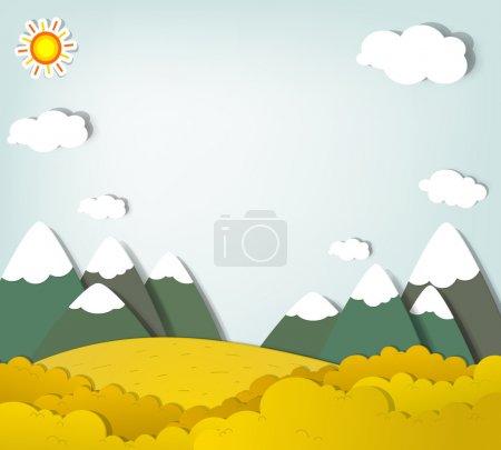 Illustration for Vector applique. Autumn mountain landscape - Royalty Free Image