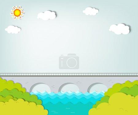 Vector applique. Landscape with bridge