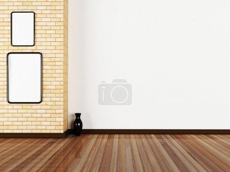 Photo pour Deux photos sur le mur de la salle, minimalisme - image libre de droit