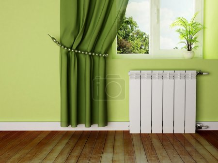 Interior design scene with a radiator