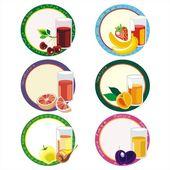 Štítky s džusem v skla a ovoce