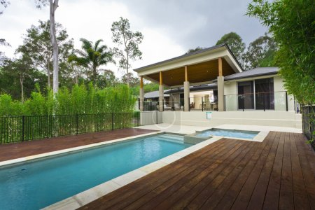 Modern backyard with pool