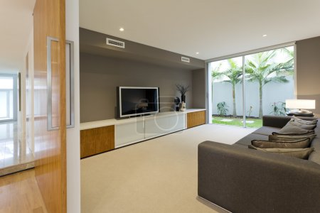 Photo for Luxurious media room with Tv and couch - Royalty Free Image