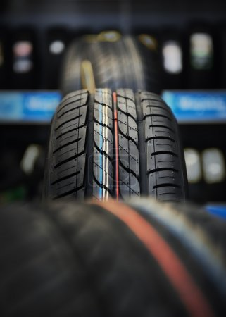 Photo for The tire tread in workshop. - Royalty Free Image