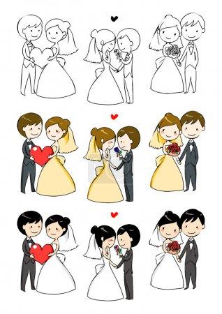 belle mariée et le marié avec 3 actions