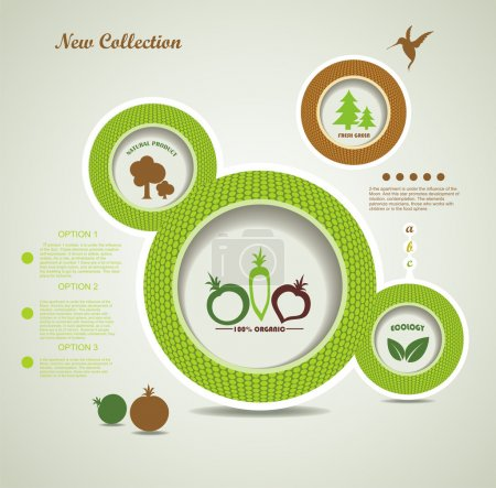 Illustration for Set of organic and farm fresh food bubbles - Royalty Free Image