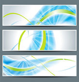 set of three banners abstract headers with blue lines
