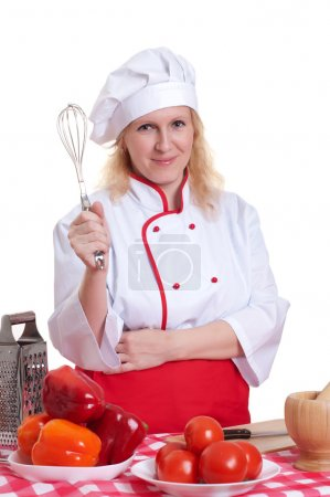 Attractive woman cooks
