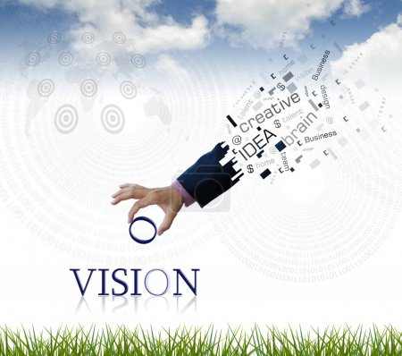 """Photo for Art work of business hand with the """" vision """" word with nature background. - Royalty Free Image"""