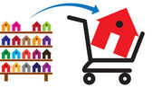 Concept of buying a house or property on sale The shopping trol