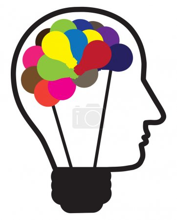 Illustration of idea light bulb as human head creating ideas sho