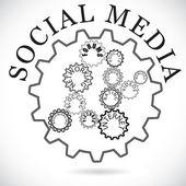 """Постер, картина, фотообои """"социальные медиа компоненты, показанные в зубчатых колес, совместной работы syn"""""""