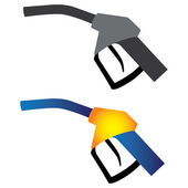 Illustration of petrol nozzle used for gas filling in black & white and in yellow orange and blue colors on white background This can be used by petroleum industry oil and gas companies
